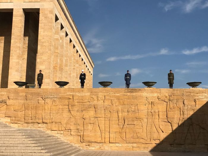 Travel Destinations Ankara Anitkabir Museum Anitkabirdeyiz Sky Architecture Real People Men Built Structure Cloud - Sky Day People Building Exterior Travel Destinations Outdoors Low Angle View Lifestyles Sunlight Women Leisure Activity Nature Shadow
