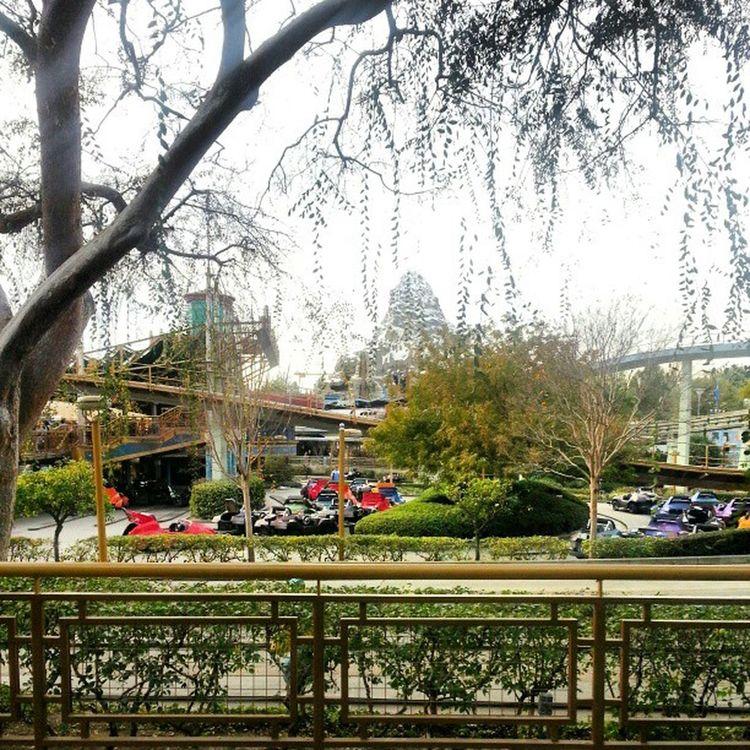 Matterhorn  through the trees of Autopia in Disneyland