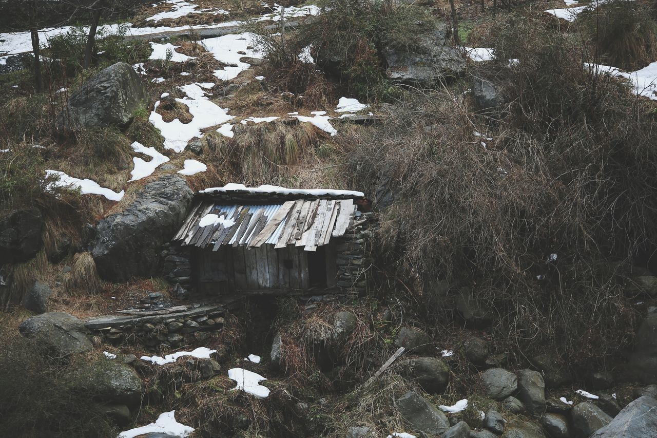 abandoned, no people, built structure, day, building exterior, outdoors, nature, winter, desolate, architecture, snow, scenery, cold temperature, landscape, tree, mountain