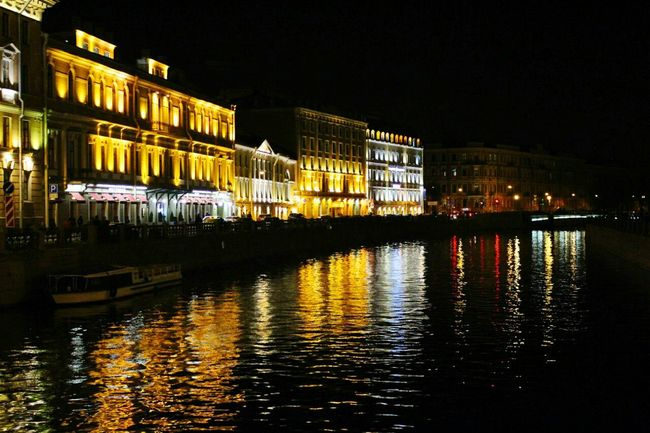 Water Architecture Built Structure Night City Travel Destinations Canal City Life No People Façade Stpetersburg Russia Neva River Travel