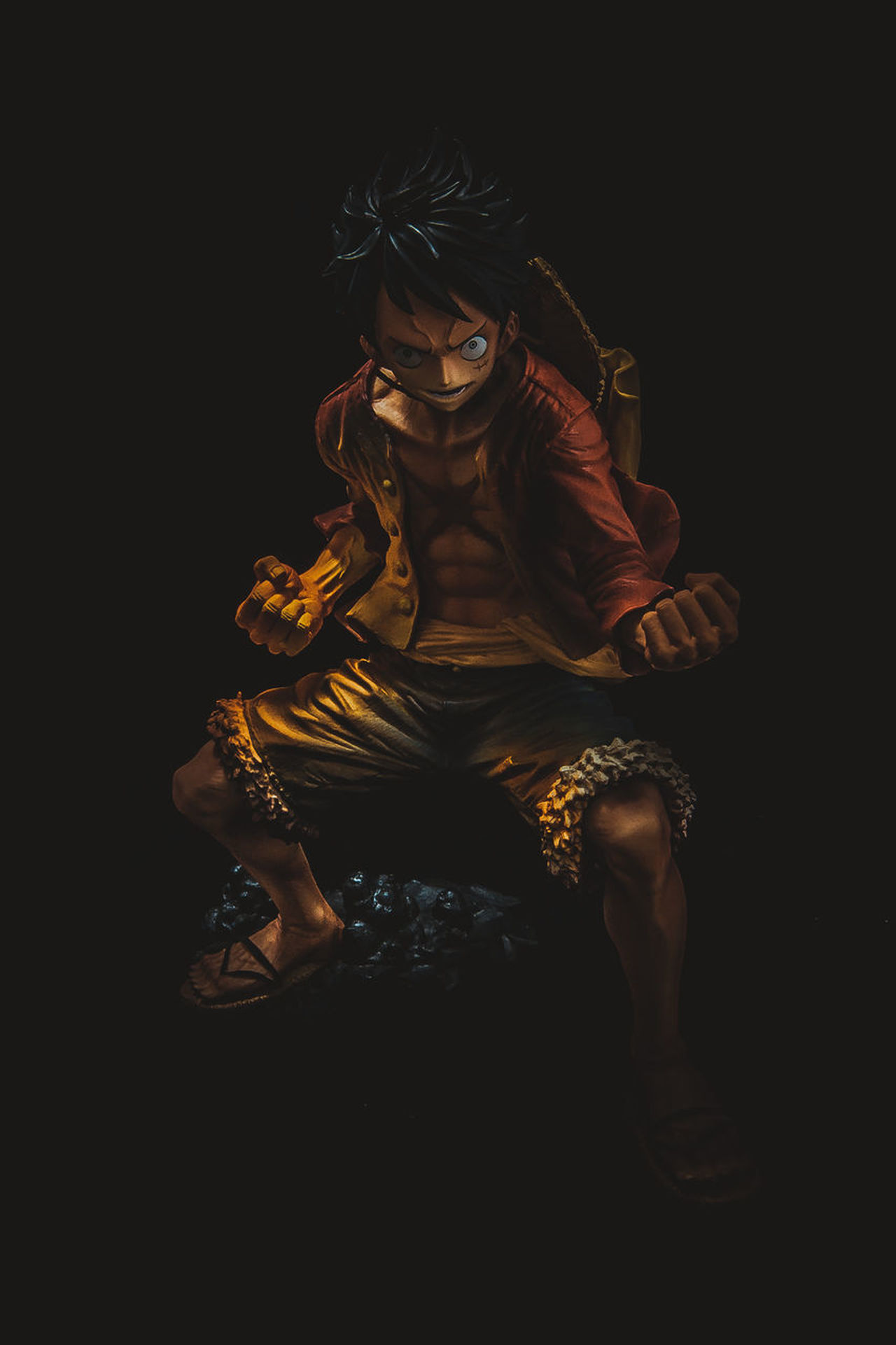 Anime Art And Craft Black Background Full Length Indoors  Luffy Night One Person One Piece People Religion Sculpture Sitting Statue Studio Shot Toys