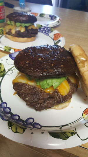 BBQ Burgers Gourmet Foodporn Yummy Portabello Avacado Ohmygoodness GuyFieri kind of burger