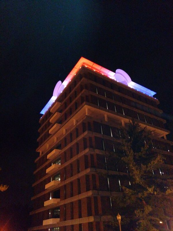 Fourth Of July 🎉 Red, White And Blue Building Exterior Architecture Illuminated Night Built Structure Houston Cole Library Jacksonville State University Alabama