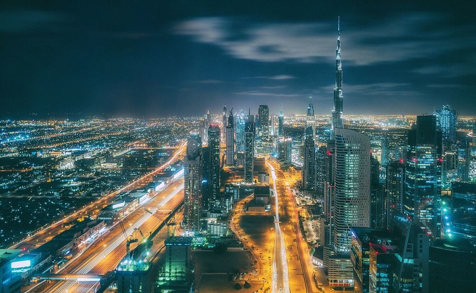 View from JW Marriott Marquis 67th floor City Illuminated Cityscape Architecture Night Building Exterior Skyscraper High Angle View Built Structure Sky Aerial View Modern Light Trail Traffic No People Long Exposure Urban Skyline Outdoors Dubai❤ Dubai UAE EyeEmNewHere