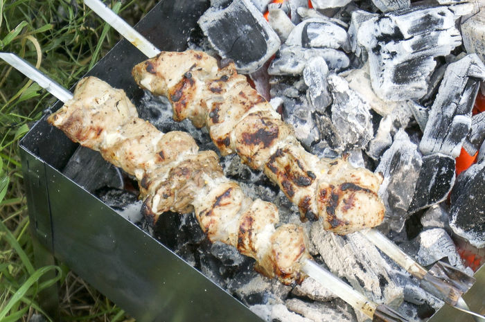 Cooking Skewer Ash Brazier Charcoal Close-up Day Food Freshness High Angle View Meat No People Outdoors Preparation  Ready-to-eat