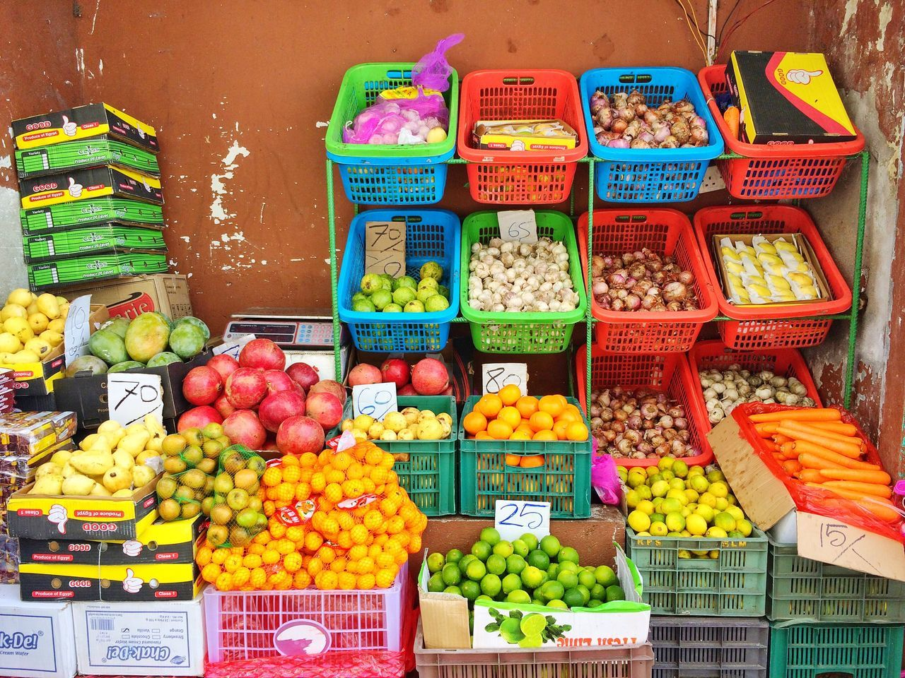 Choice Variation Market Multi Colored For Sale Food And Drink Healthy Eating Freshness Fruit Vegetable Market Stall Retail  Large Group Of Objects Abundance Arrangement Food Buy Sell Exotic Fruits Basket Colorful