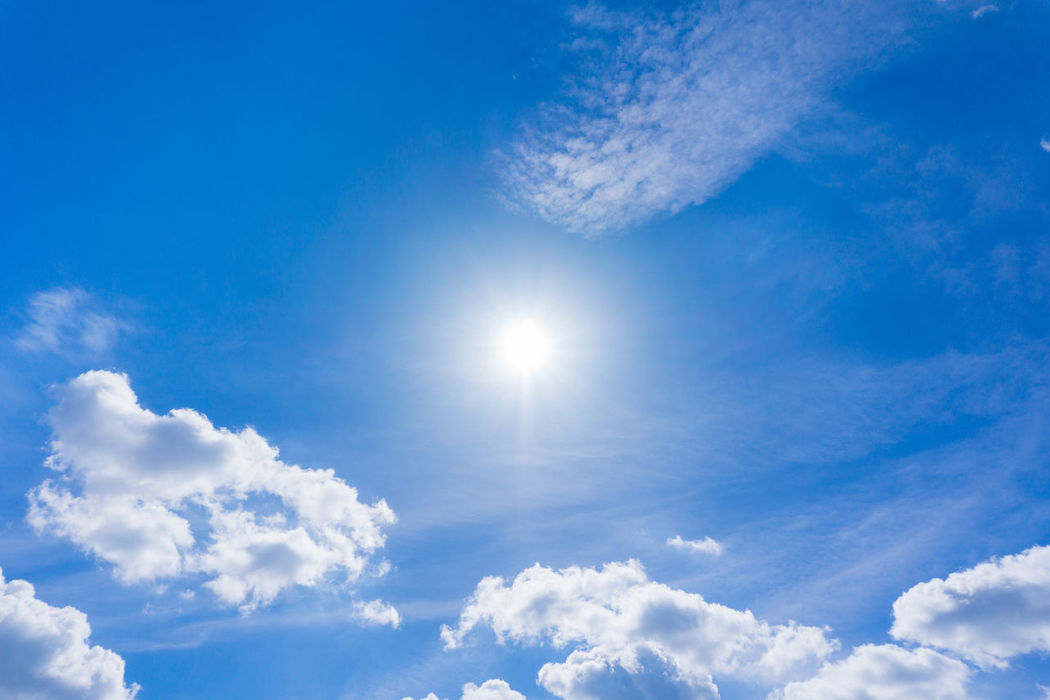 Sunshine Background Blue Sky Clean Clear Cloud Formations Cloudscape Concept Energy Freshness Future Outdoor Scenics Skin Cancer Solar Energy Summer Summertime Sun Sun Protection Sun Rays Sunbathing Sunlight Sunny Day Sunshine Uva White Clouds