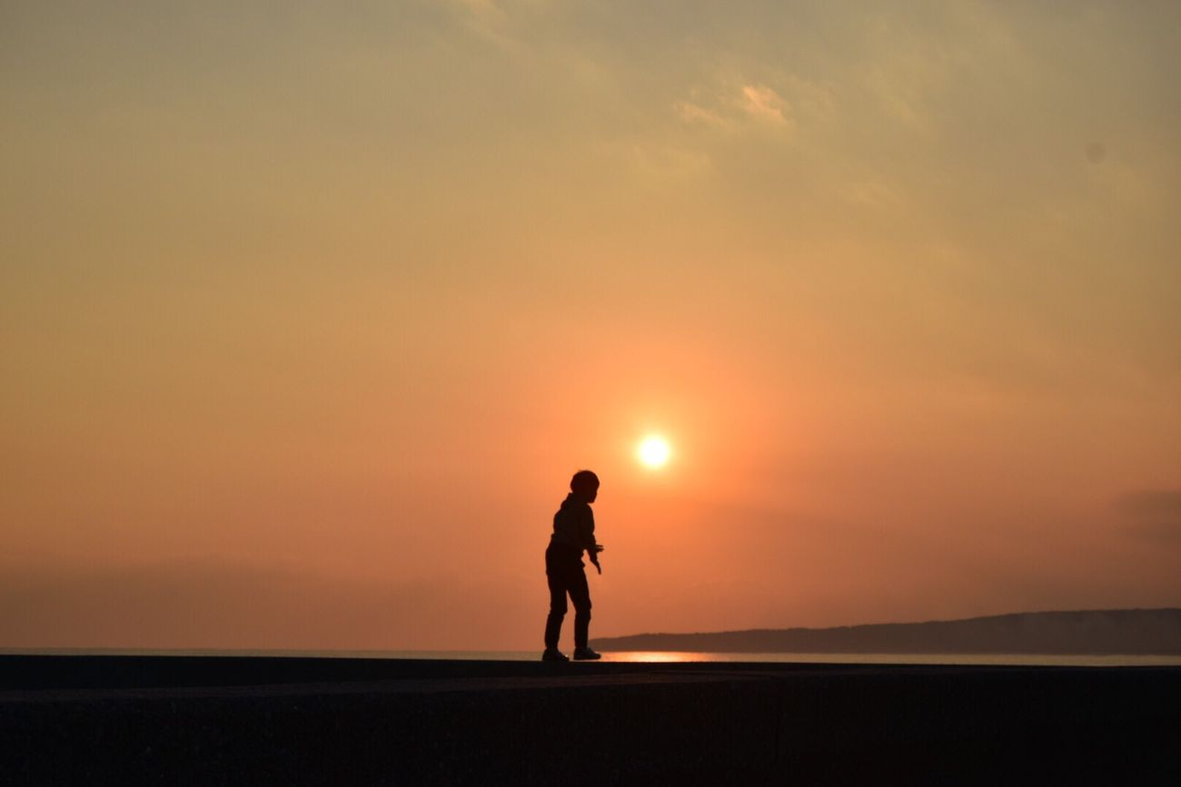 Sunset Silhouette Nature Sky Sea One Person Scenics Beach View Happy Time Nature Photography いつもの海 Japan …久しぶりに開けたら…なんだ…タグ。。
