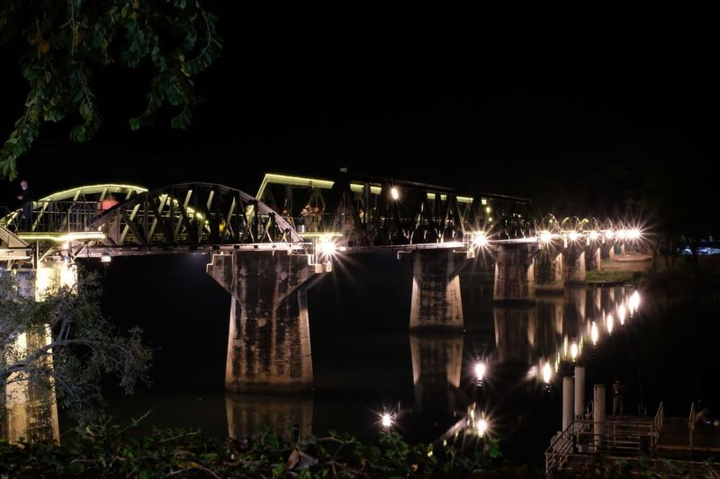 Bridge over the river Kwai at night. Night Bridge Night Illuminated Bridge - Man Made Structure Built Structure Outdoors Long Exposure Architecture