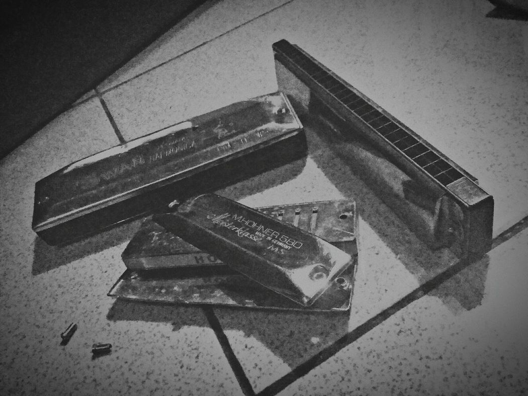 harmonica High Angle View Stapler No People Indoors  Day Close-up Harmonica Diatonic Chromatic Tremolo Harp Hohner  Musical Instruments Music Black And White Blackandwhite Photography Black & White INDONESIA Garut