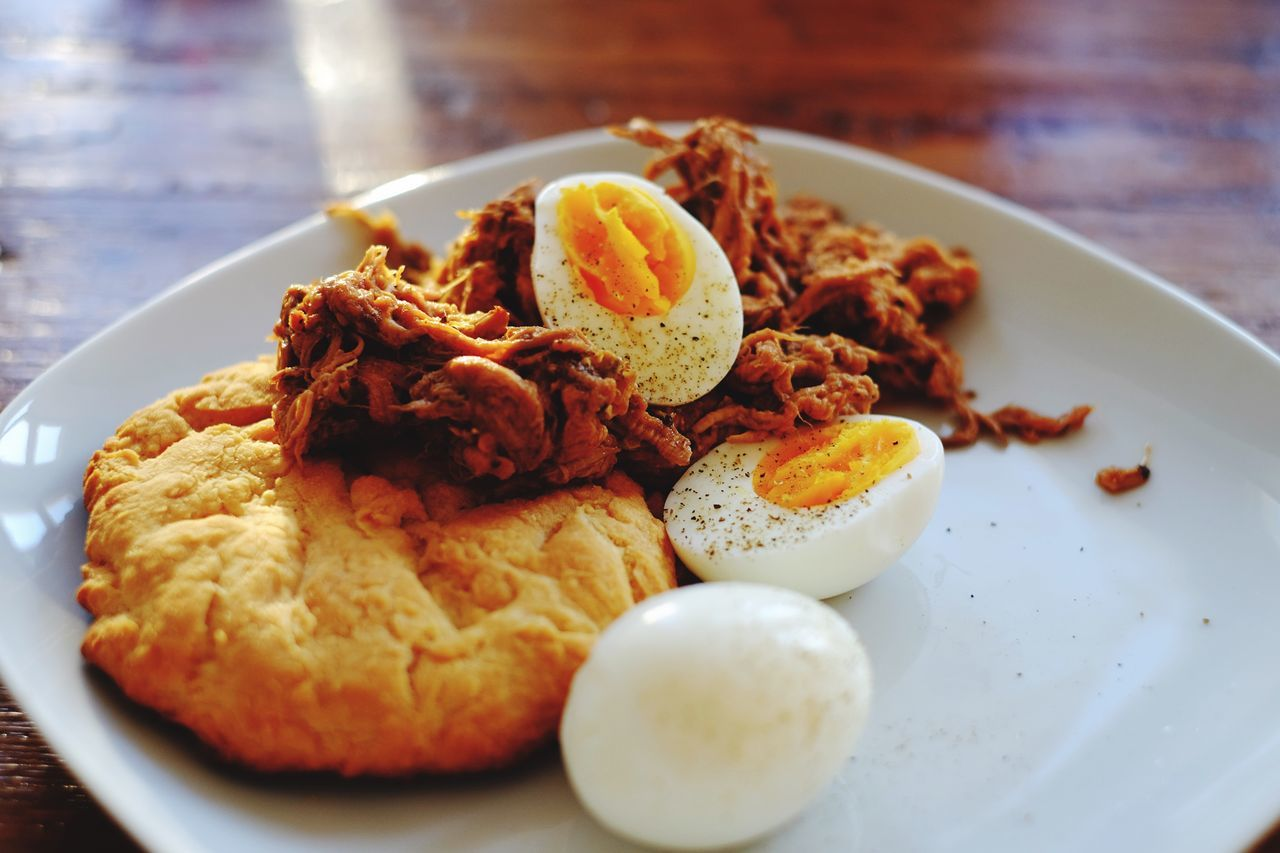 Home Cooking Pulled Pork Biscuit Food Close-up Breakfast Om Nom Nom