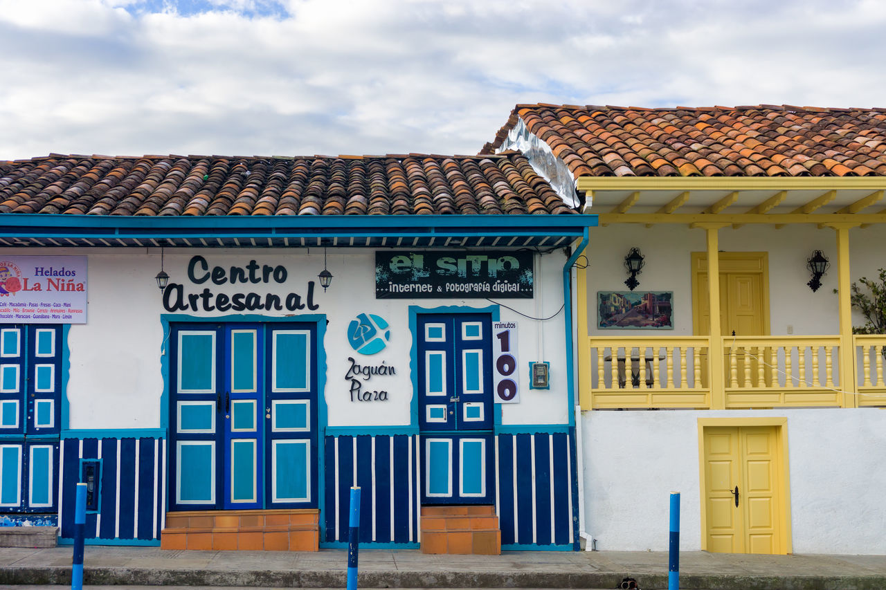 SALENTO, COLOMBIA - JUNE 6: Colorful architecture in Salento, Colombia on June 6, 2016 America Architecture Balcony Building Center City Colombia Colonial Colorful Countryside Culture Door Doors Historic Houses Landmark Outdoors Quindío Salento South Street Tourist Town Travel Village