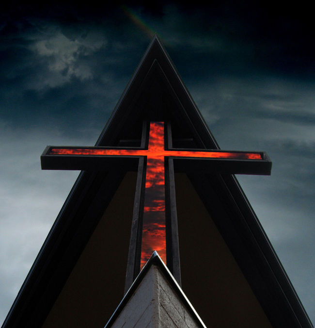 Catholic Church Clouds Cross Darkness Glow Hope Pray Relegion Shapes Spirituality Triangle