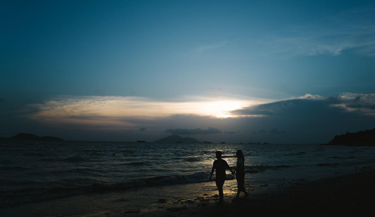Beach Beauty In Nature Calm Cloud Cloud - Sky Coastline Horizon Over Water Idyllic Leisure Activity Lifestyles Nature Non-urban Scene Outdoors Remote Scenics Sea Shore Sky Sun Sunset Tranquil Scene Tranquility Unrecognizable Person Vacations Water