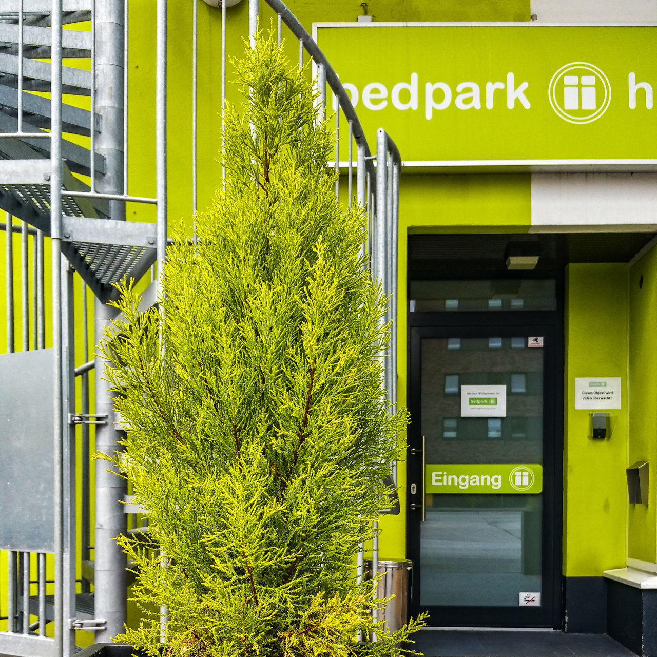 Koryphäe Architecture Building Exterior Built Structure Close-up Communication Day Door Entrance Exit Sign Green Wall Handy Photo Hotel House Colour Koryphäe Modern Architecture No People Outdoors Plant Spiral Stairs Text