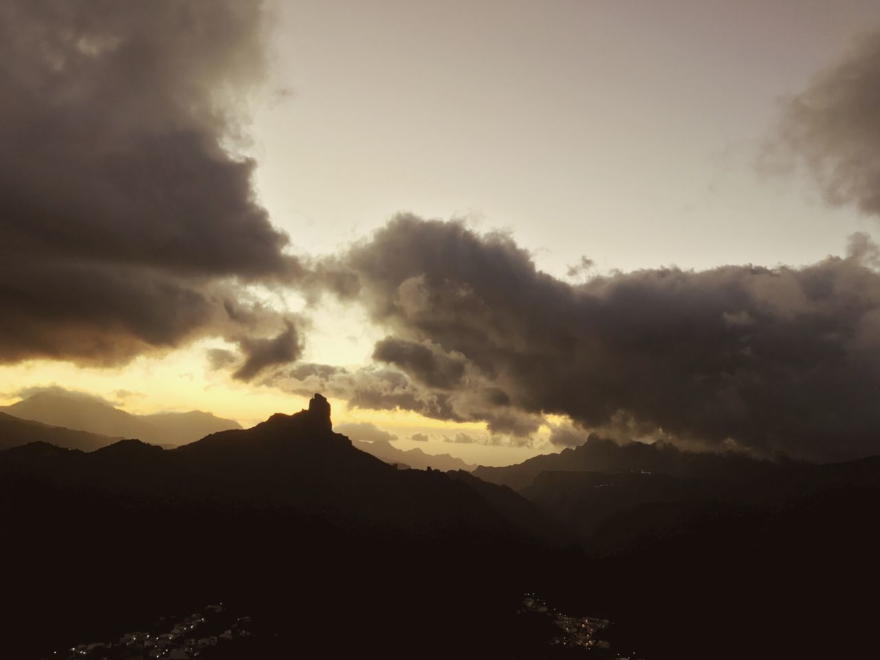 Gran Canaria Roque Bentayga Evening Silhouette Sky Nature Beauty In Nature Mountain Scenics No People Cloud - Sky Tranquil Scene Sunset Tranquility Outdoors Travel Destinations Landscape Architecture Mountain Range Day