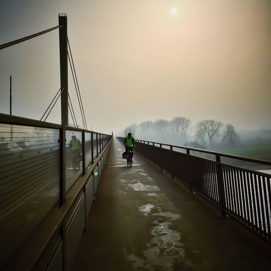 Day 80 - Cycling Back iPhone 6 - Native Cam - Snapseed, PS Express IPSLeadingLines Bridges Fog Foggy