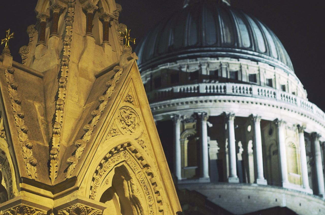 Exterior Of Illuminated St Paul Cathedral At Night