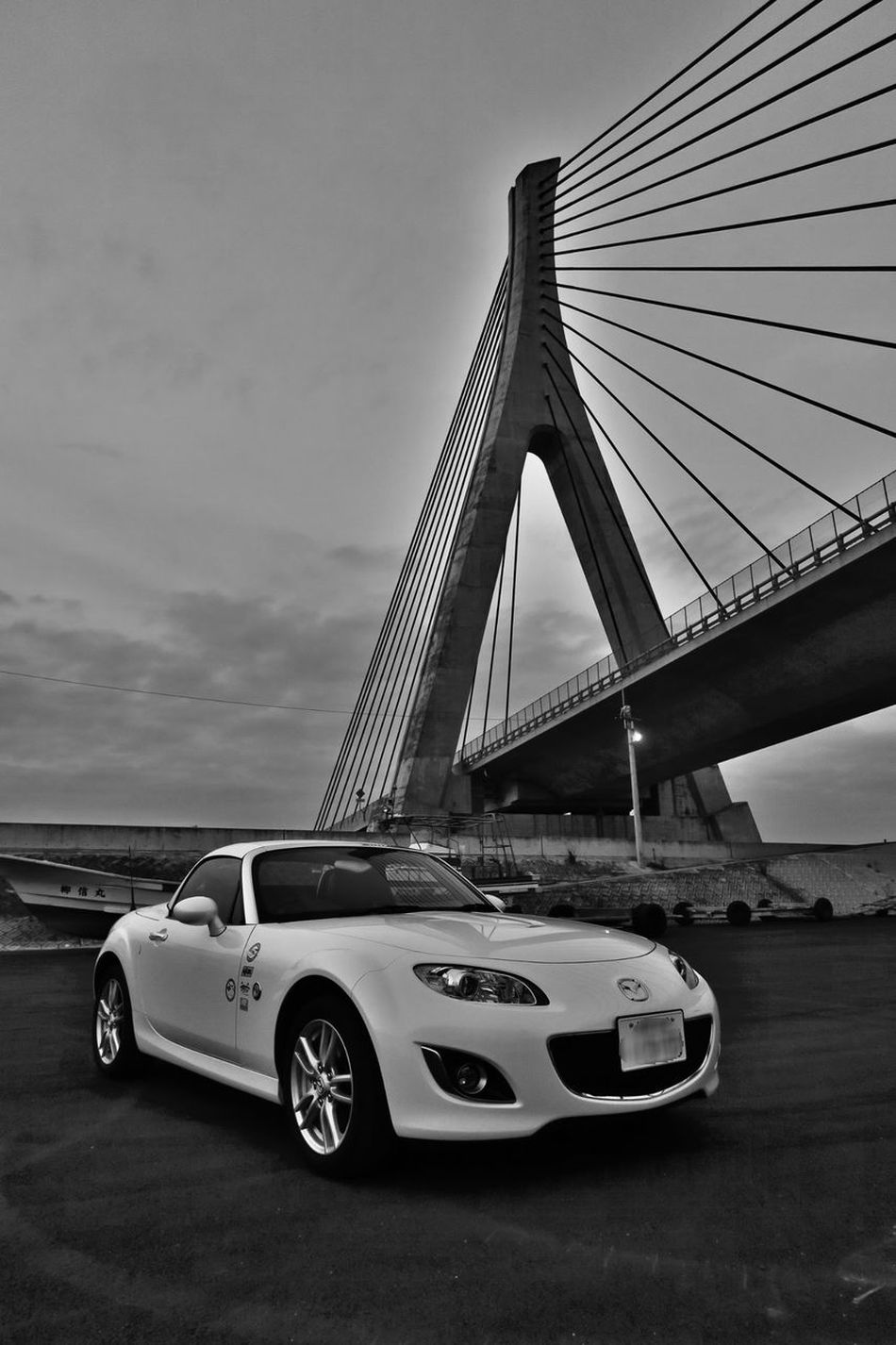 Bridge - Man Made Structure Car Connection Architecture Sky Transportation Bridge Road Mazda Mx5 Miata マツダ ロードスター Nc2 有明海沿岸道路 矢加部大橋 柳川 Built Structure No People Modern Suspension Bridge Travel Destinations Travel Outdoors Day