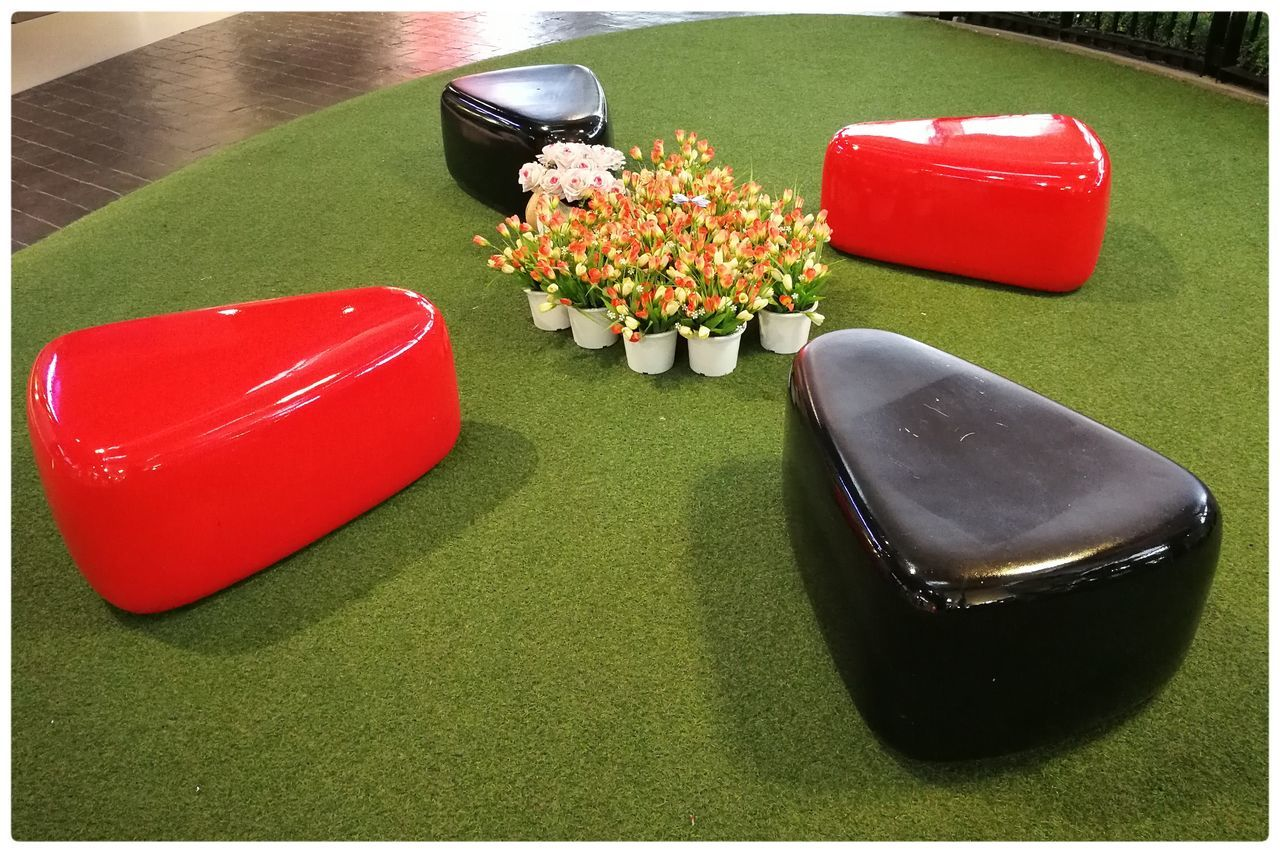 Relaxing area for chit chat Benches Black Decoration Furniture Home Style Interior No People Red
