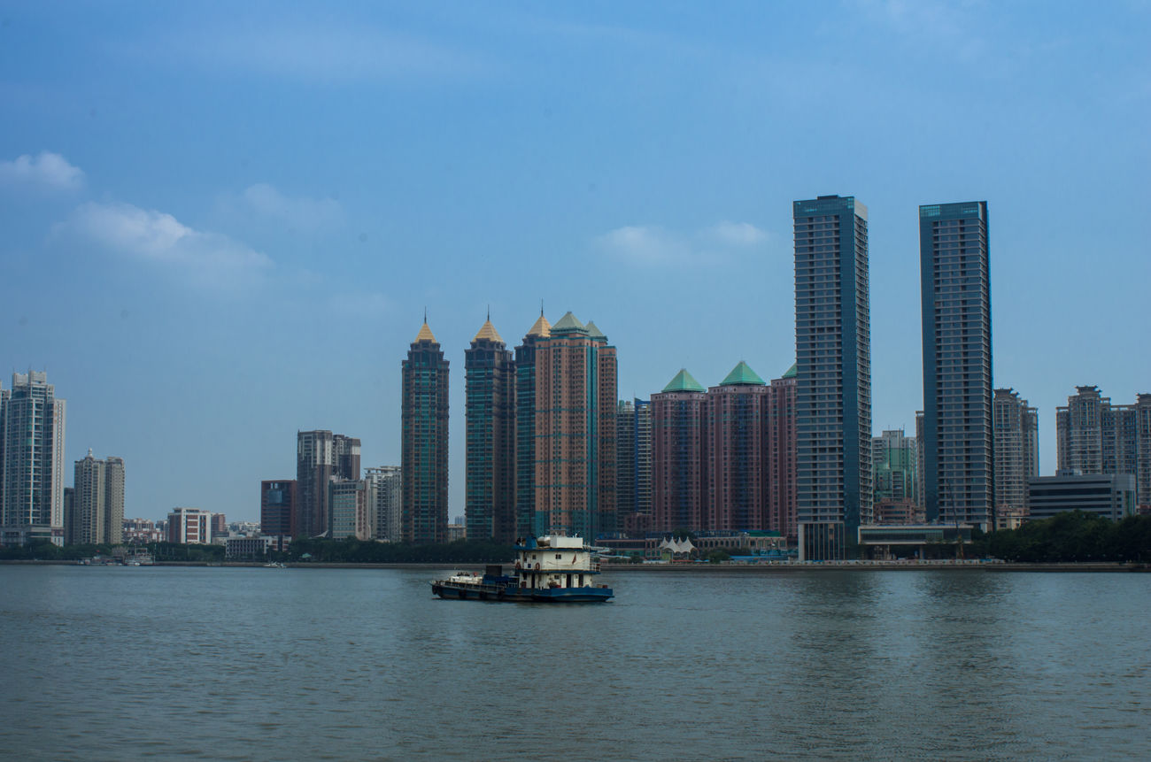 Zhujiang River Blue Sky Cityscapes