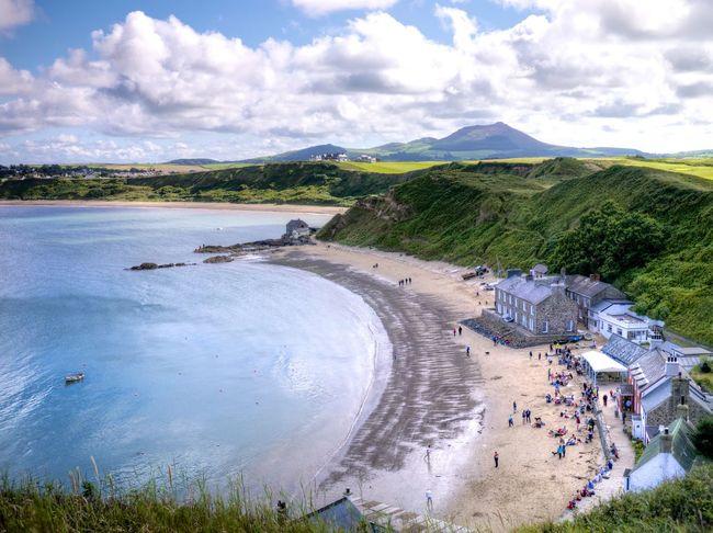 The Ty Coch Inn in Wales, Uk. Sea Beach Sun Water Blue Boat Coast Cymru Nefyn Sky