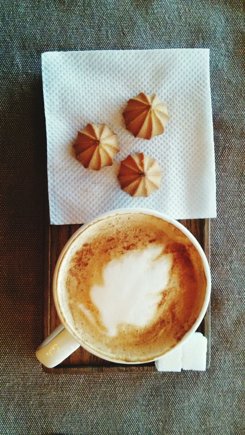Directly Above High Angle View Indoors  Drink No People Food And Drink Close-up Star Anise Food Freshness Day Capuccino Sugar Biscuits Cookies Timebreak Coffee Time