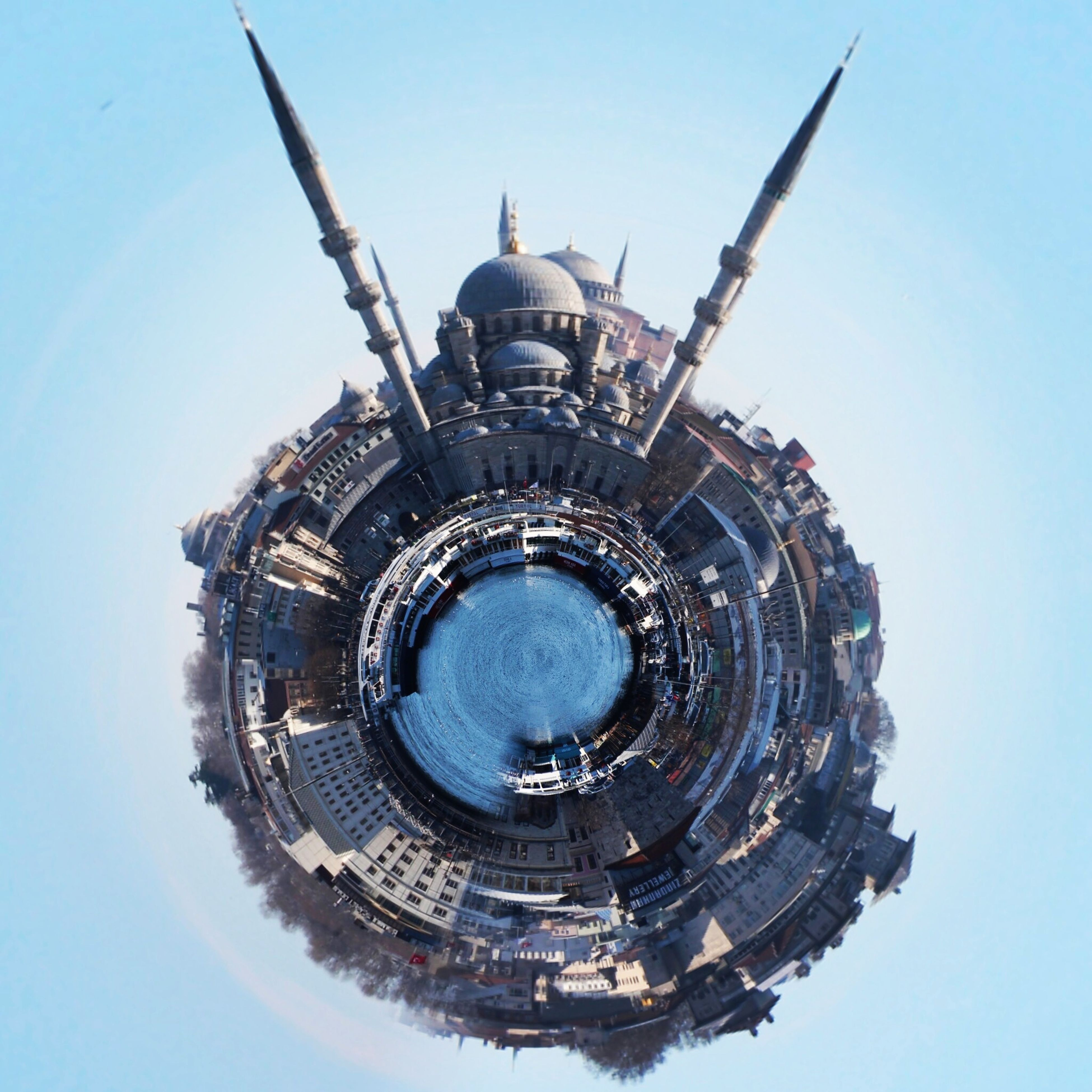sphere, architecture, built structure, building exterior, city, outdoors, no people, sky, fish-eye lens, day