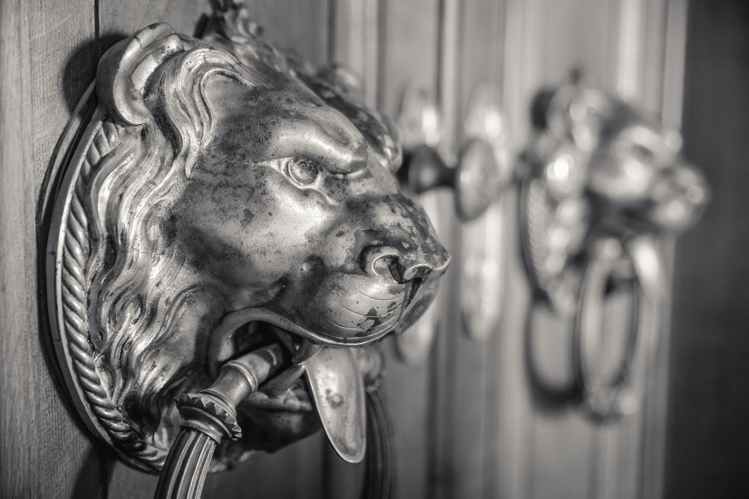 Animal Body Part Art Blackandwhite Castle Close-up Come In Day Door Door Knocker Entrance Focus On Foreground Knock Knock Lion Lion Head No People Selective Focus