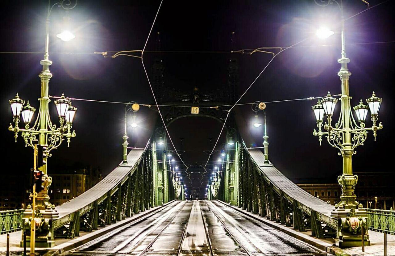 illuminated, night, the way forward, lighting equipment, bridge - man made structure, transportation, outdoors, no people