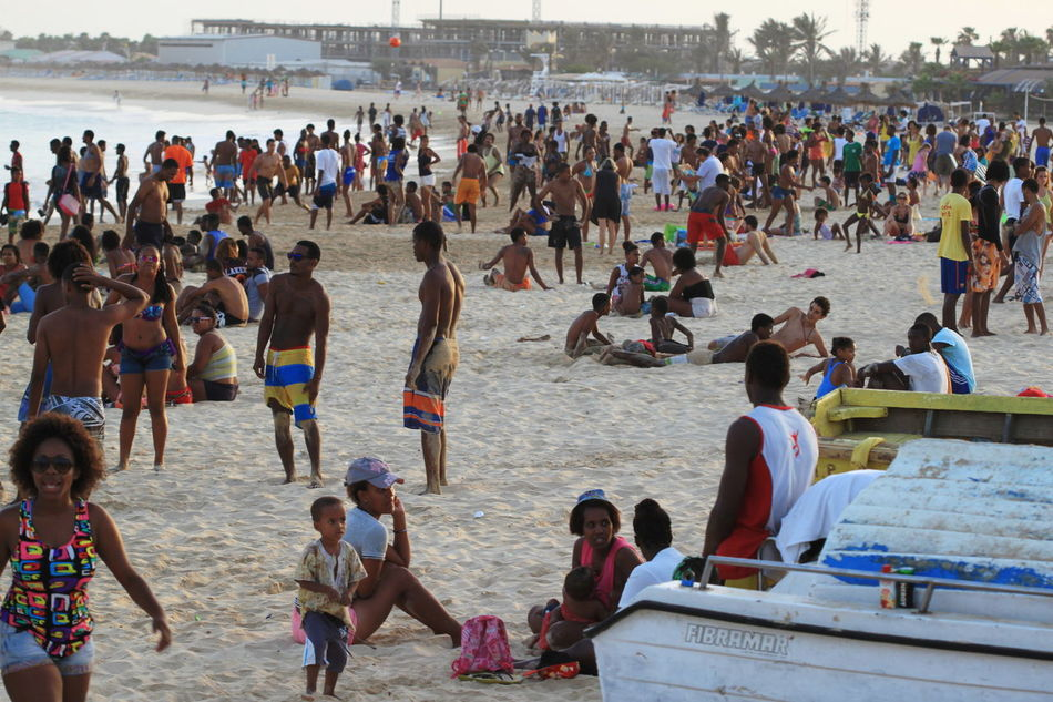 Beach Capo Verde Crowd Enjoyment Large Group Of People Lifestyles Mixed Age Range Outdoors People Real People Sal Island Sand Santa Maria Summer 2015 Water