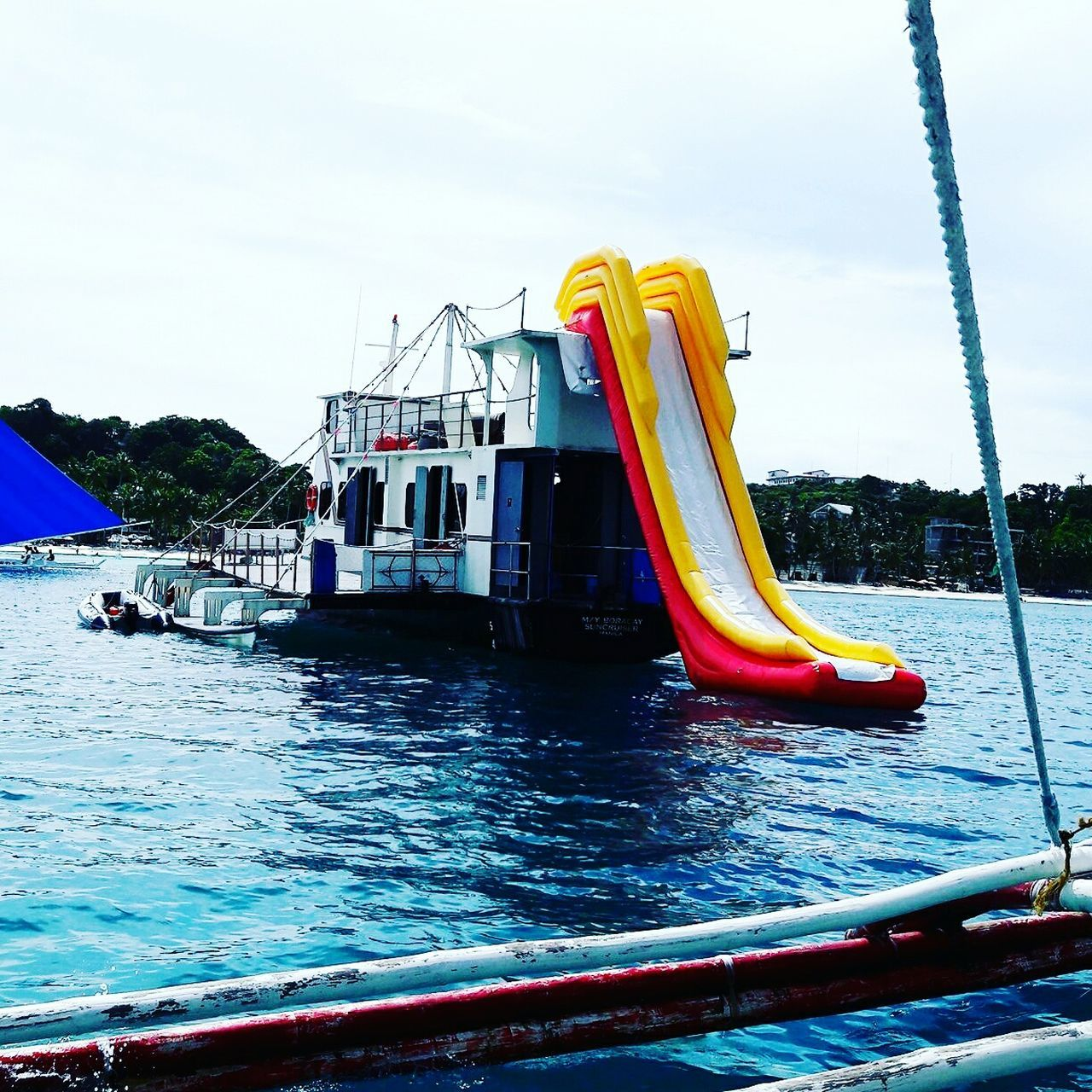 Want to give a try ? Slide in the open sea. Slideplayground Slideinthesea Sea Seaslide Boracay Philippines
