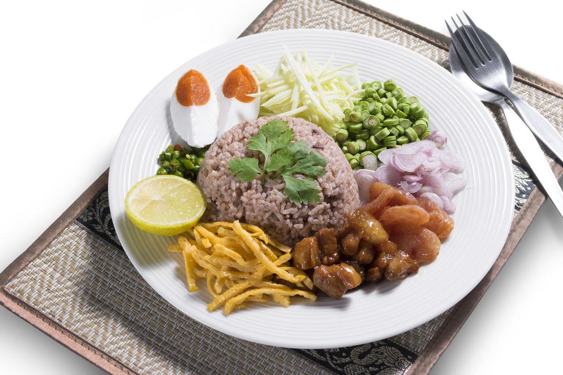 Thai food shrimp paste fried rice, Khao Kluk Kapi Cuisine Dish Egg Food Food And Drink Healthy Eating Meal Rice Thai Thai Food Vegetable
