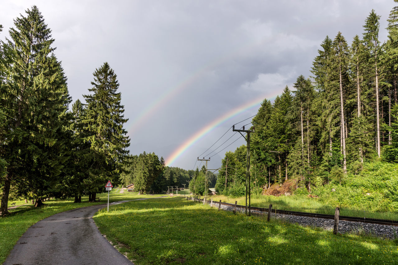 Double rainbow over Bavarian Alps near Grainau, Germany Bavarian Alps Clouds Double, Forest Germany Landscape Mountains Natural Rain Rainbow Rural Sky Summer Weather