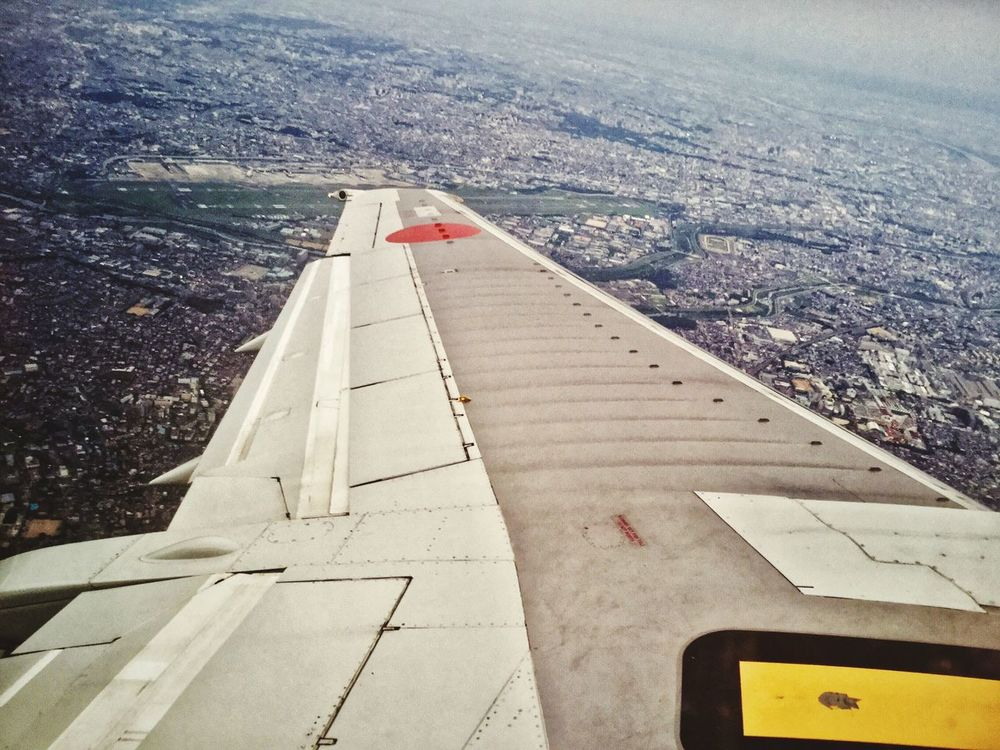 Sky High Itami Airport Osaka 大阪 Aerial View Transportation Airplane Mode Of Transport Aircraft Wing Cityscape IPod Touch Photography 33mm All Nippon Airways Boeing 737-500 Boeing 737 View From The Window... go to Nagasaki Airport 🛫