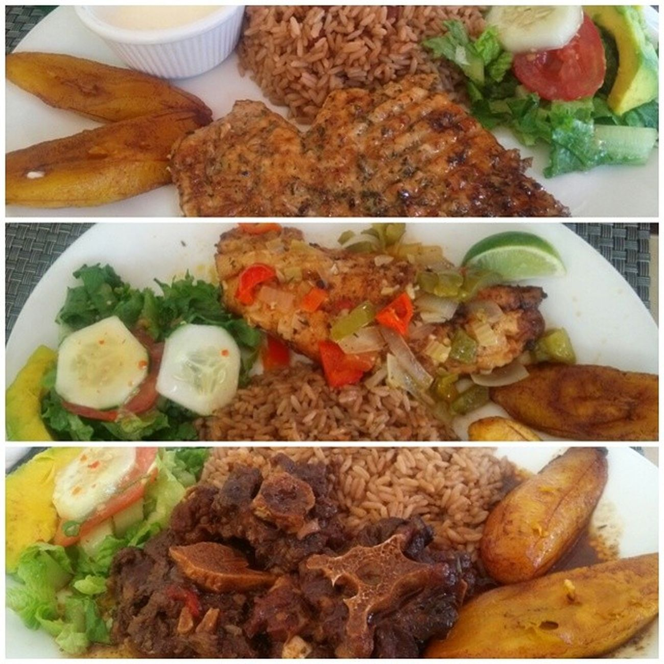Rice & peas, fry plantain, salade. Oxtail FiletSnapper Grilledchickenbreast