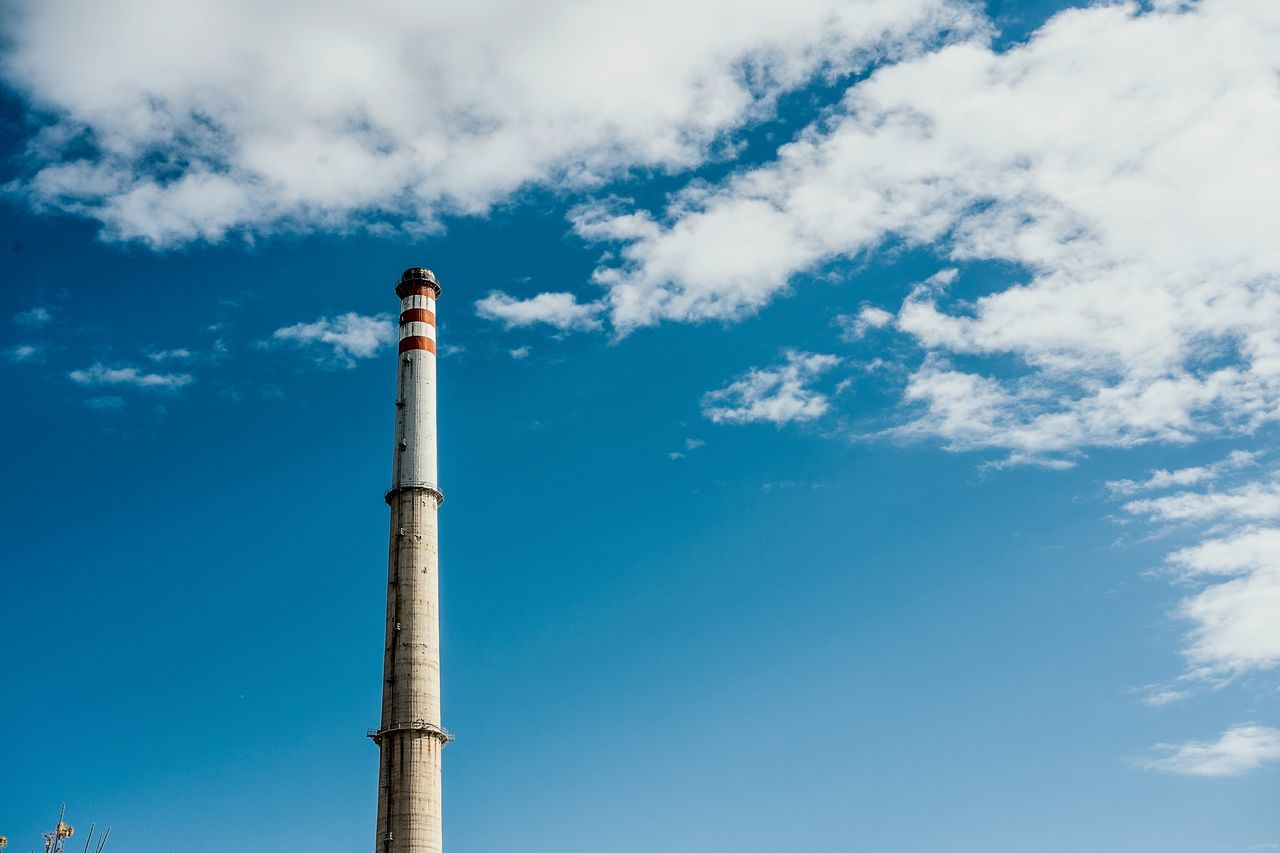 Tall - High Low Angle View Tower Sky Built Structure No People Cloud - Sky Outdoors Things I See Color Open Edit Fragments Of Life Chimney Industrial