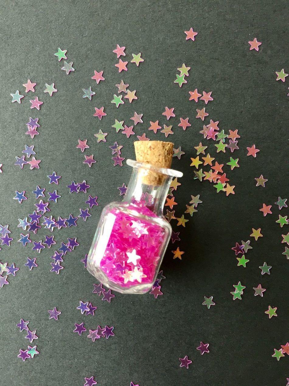 Pink stars bottle Glitter Stars Hotpink Fuchsia Pink Macro Closeup Glass Jar Cork Little Bottle Tiny Vintage