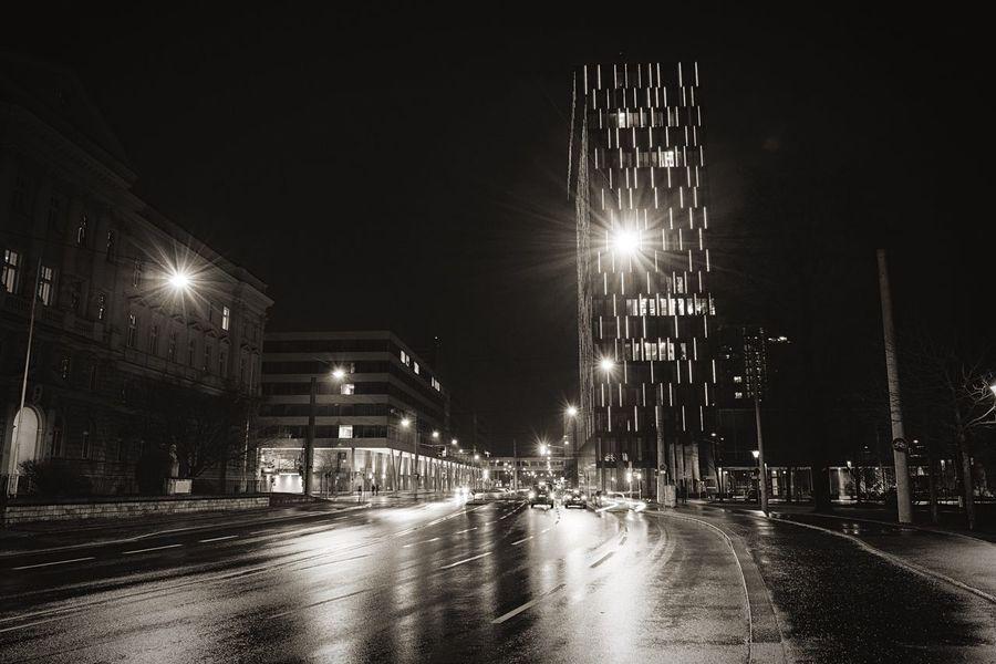 Blackandwhite Cityscapes Night Lights Linz Street Blackandwhite Photography Nightphotography SONY A7ii Walking Around Sony A7 Mark Ii