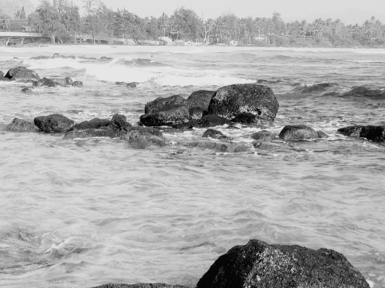 Sea Nature Outdoors Motion Beauty In Nature Water No People Tide Travel Destinations Tranquil Scene Rocks And Water Kauai Hawaii Blackandwhite Photography