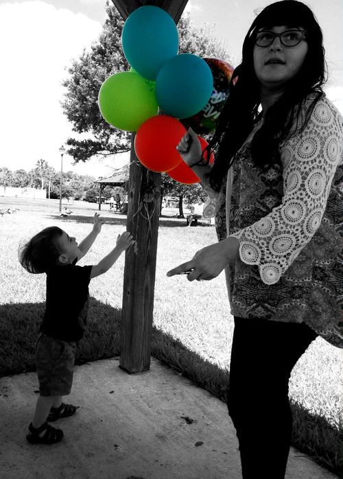 He Popped All of the Balloons Balloons🎈 Birthday Party Birthday Balloons Happy Birthday Party Party Decorations Color Splash Portrait Of A Friend Mom And Son Little Boy Child Playing
