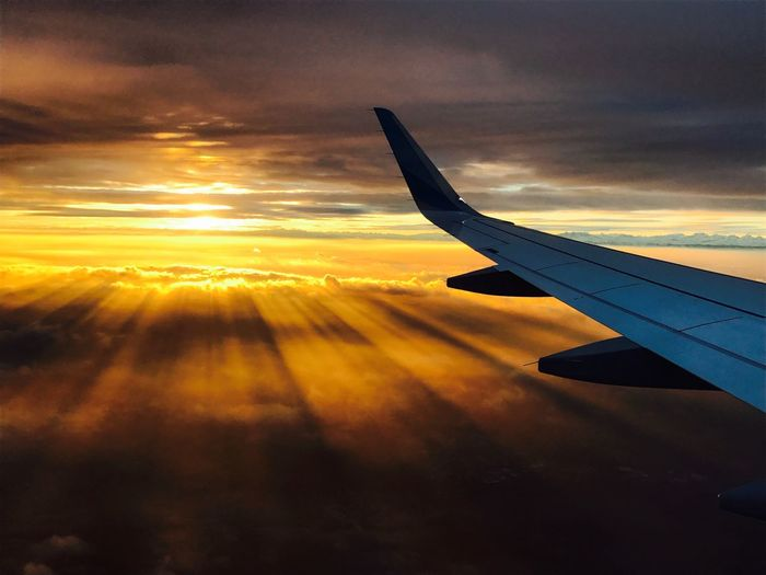 In the sky, sunrise, planewings in the sky, Morning Sunset Airplane Cloud - Sky Journey Sky Transportation Nature Airplane Wing No People Aerial View Travel Scenics