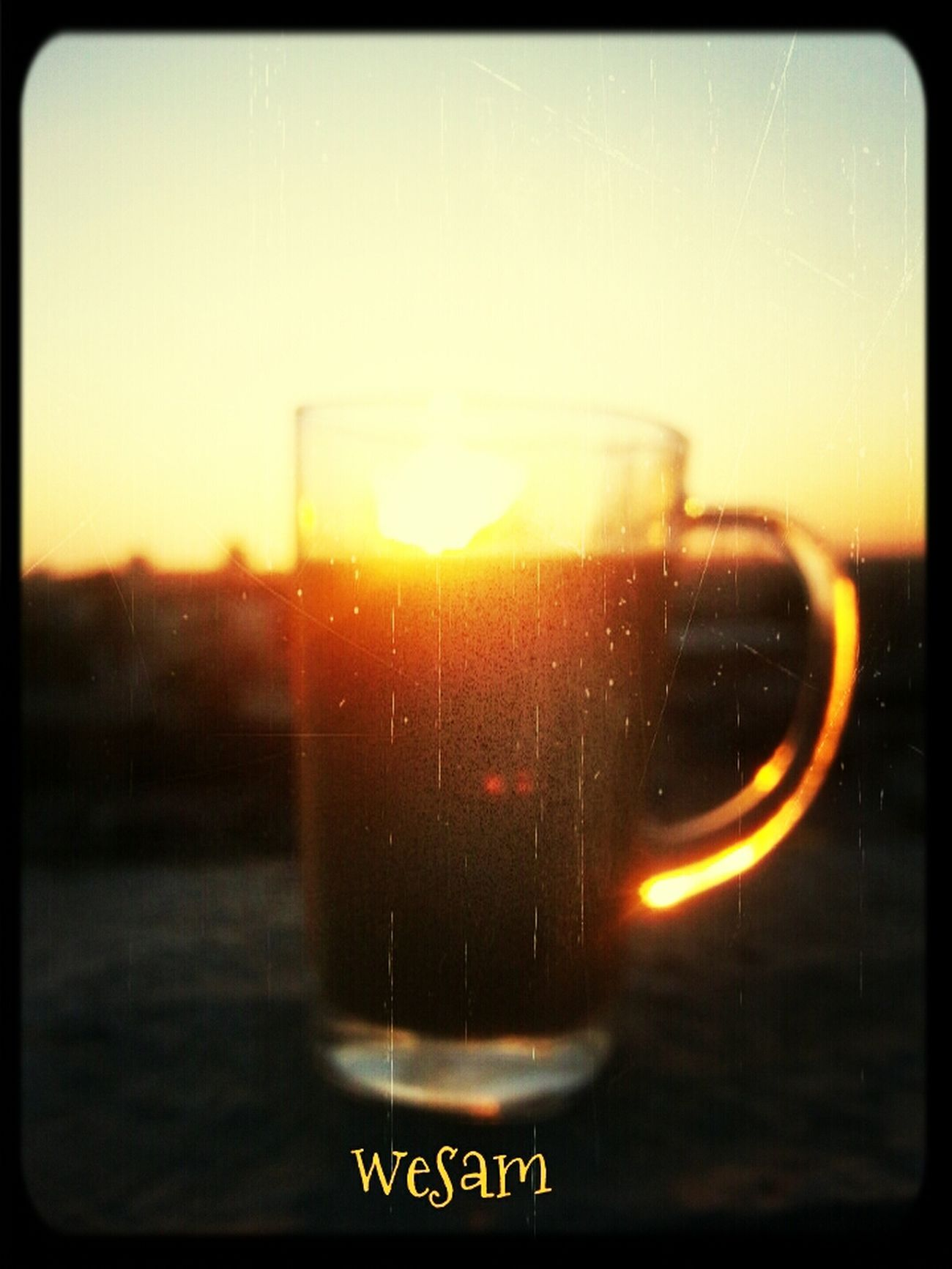 Sunset Nescafe Sun Set On Glass Enjoying Life