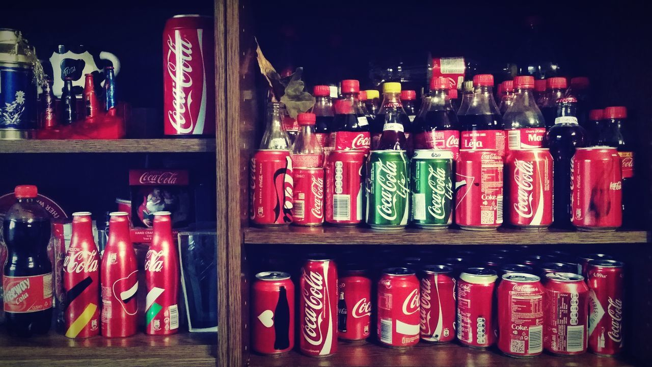 Soft Drink Collection On The Shelf Large Group Of Objects Red In A Row Choice No People Variation Indoors  Shelf Learning To Edit My Year My View Discovering EyeEm Sweet Coke Coke Collection Bottle Plastic Metal Peace Lieblingsteil