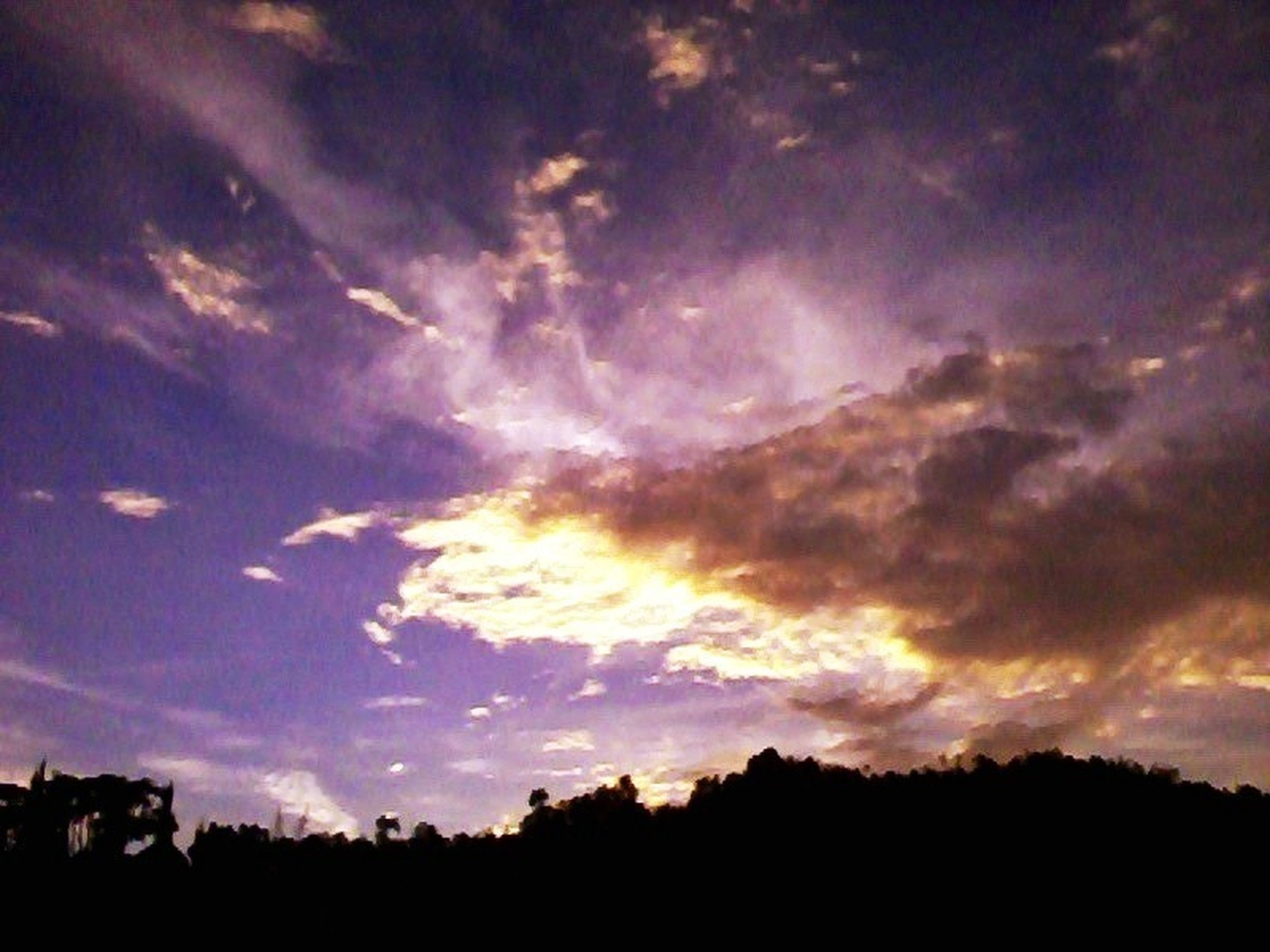 silhouette, sky, tranquil scene, scenics, tranquility, beauty in nature, sunset, tree, cloud - sky, nature, idyllic, cloud, landscape, cloudy, low angle view, dramatic sky, dark, outdoors, dusk, outline
