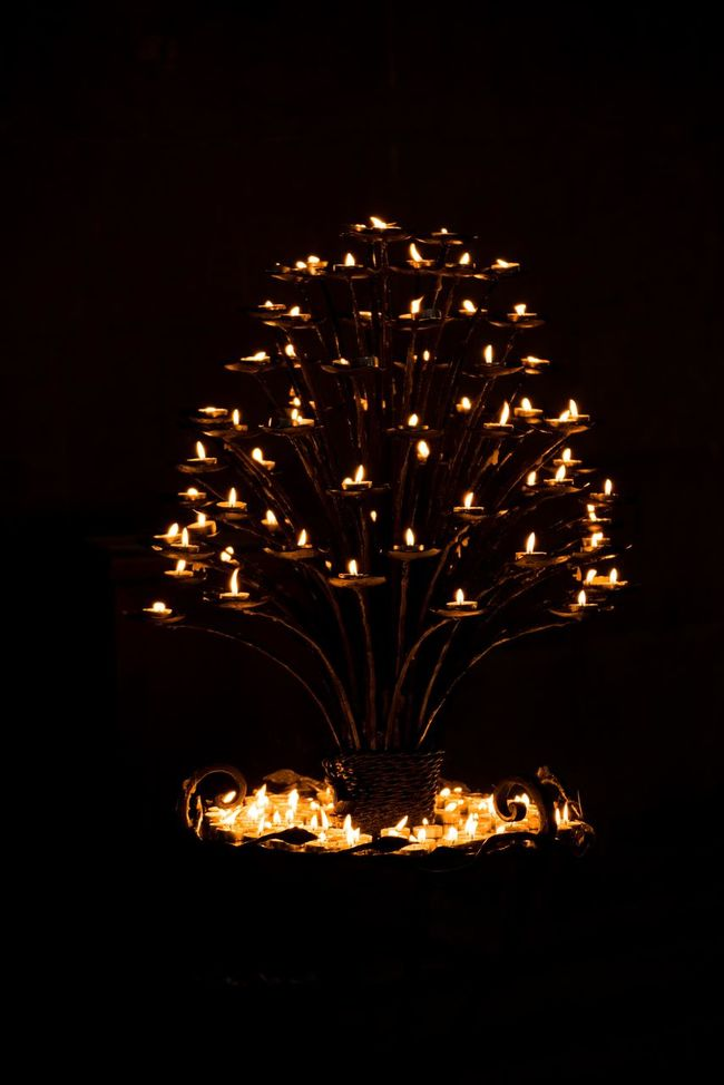 Arts Culture And Entertainment Black Background Candles Church Decoration Glowing Illuminated Lighting Equipment No People Pisa Tree