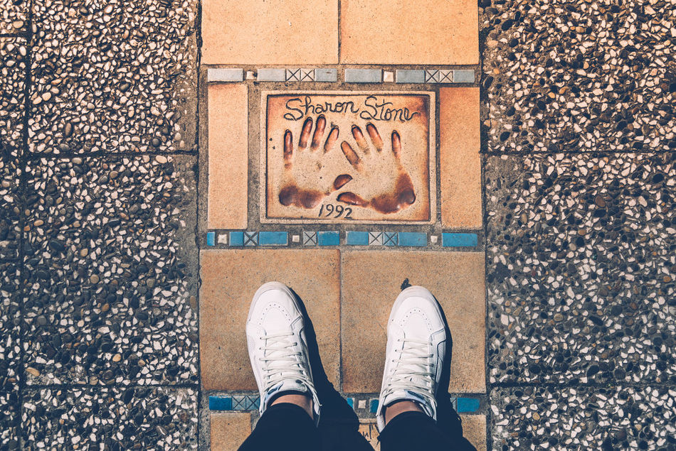 Standing in the hall of fame Actress Cannes Day Directly Above Eye Feet First Eyeem Photo Floor France Hall Of Fame High Angle View Human Body Part Human Leg Low Section One Person Outdoors Personal Perspective Sharon Stone Shoe Square Standing Text White