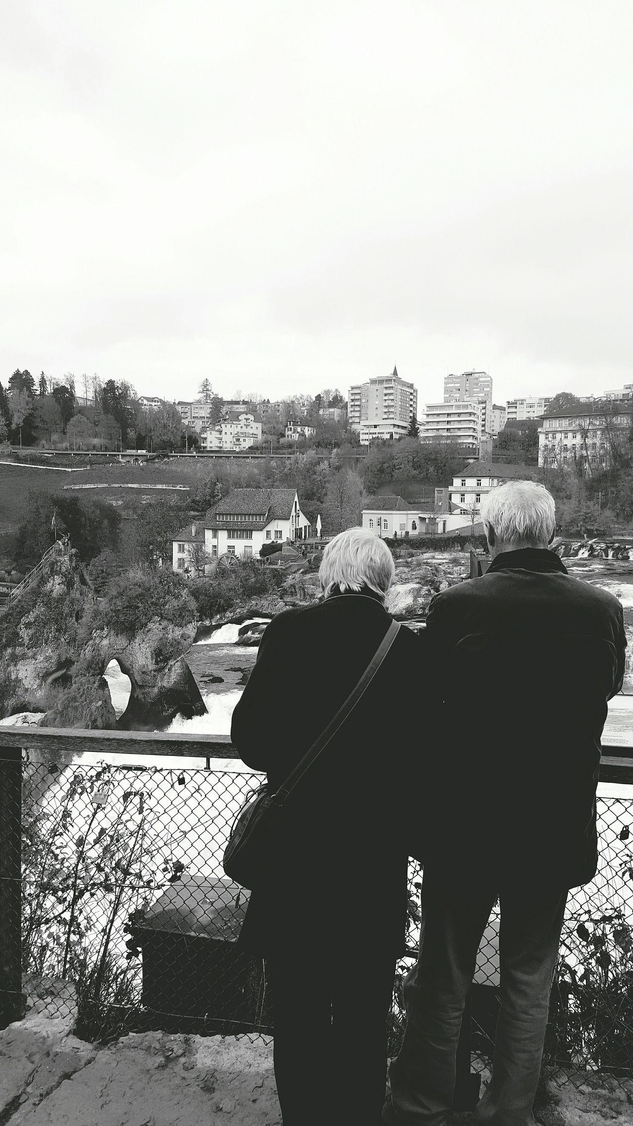 Scenic Couple Schweizerin People Watching Landscape Blackandwhite
