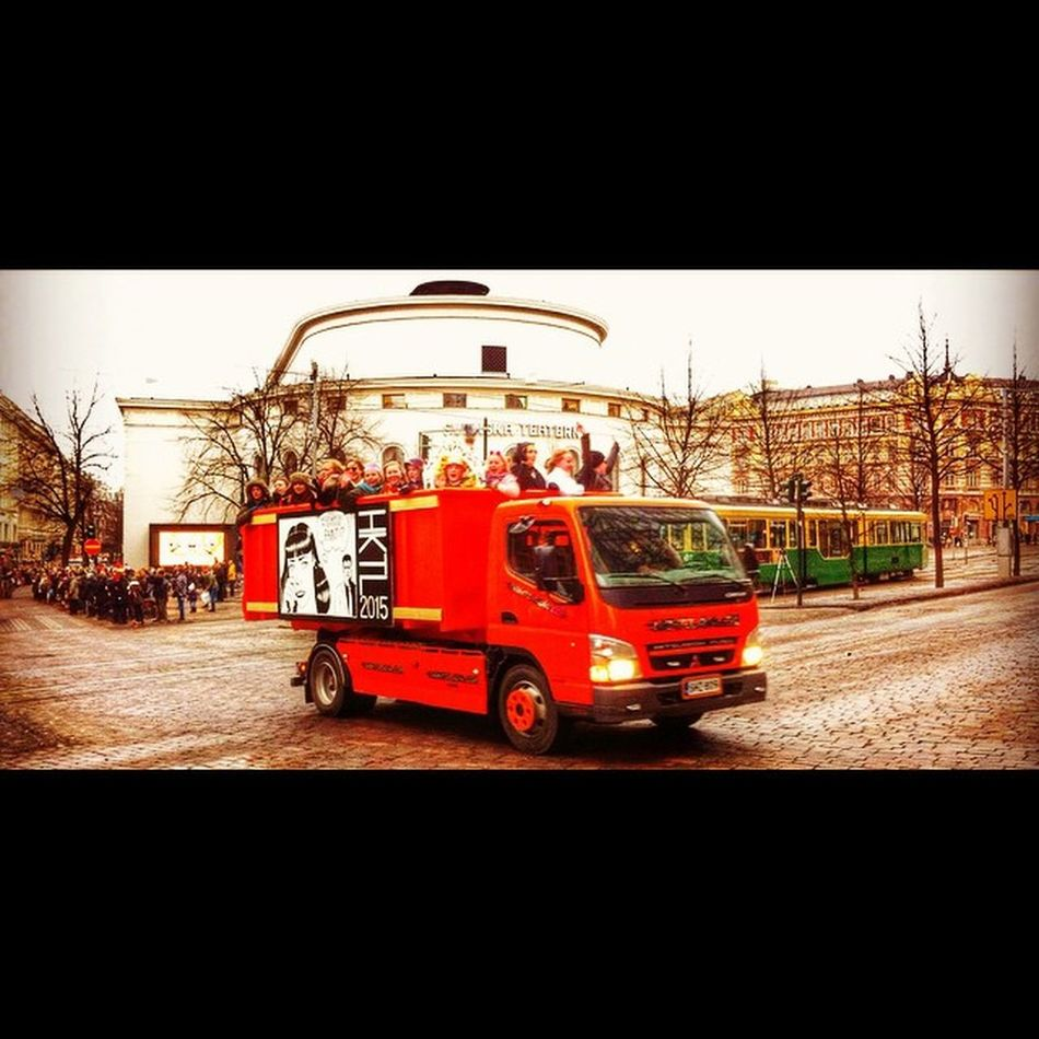 It's called Penkkarit . The final day of the Finnish upper secondary / high school . Kids on hundreds of trucks all over the city .. Like a parade .. Shouting . Throwing candies .. Penkkarit Kids School Fun shout Helsinki helsinkiofficial finland photography