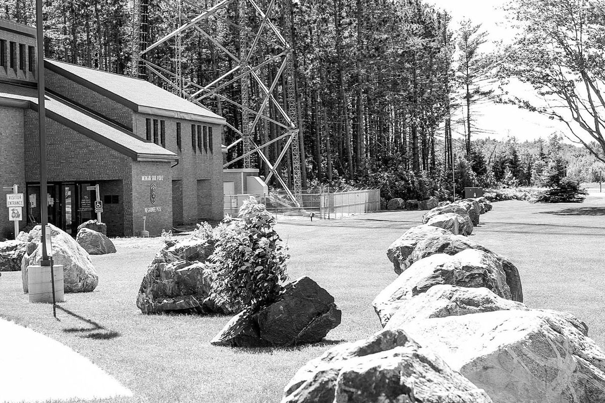 Rocks State Police Station Trees Rows Of Rocks Black And White Upper Peninsula Michigan Marquette